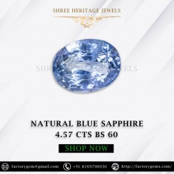 4.57-Carat Natural Unheated Blue Sapphire-Oval