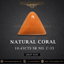 10.43-Carat Natural Triangular Shape Orangy Red Coral from Italy