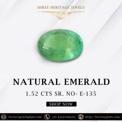 1.52-Carat Oval Shaped Green Emerald from Zambia