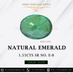 1.55-Carat Oval Shaped Deep Green Emerald from Zambia