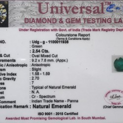 2.54-Carat Oval Shaped Green Emerald from Zambia