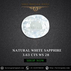 3.63-Carat Beautiful and Dazzling Eye clean White Sapphire