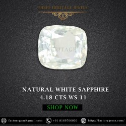 4.18-Carat Beautiful and Dazzling Eye clean White Sapphire